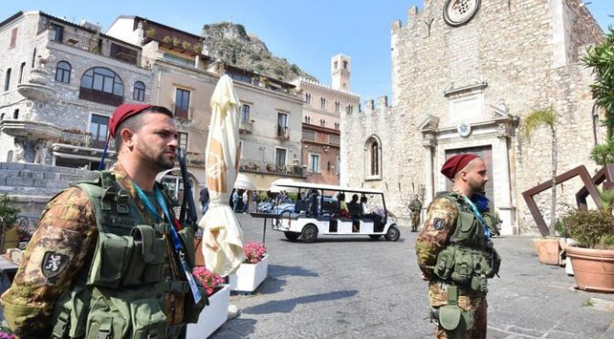 Security forces belonging are deployed in Taormina ahead of the G7 leaders summit scheduled for 26-27 May 2017 in the Sicily's town, Taormina, 24 May 2017. Experts work on an ad hoc document in which G7 leaders will reaffirm cohesion and unity in the fight against terrorism at the Taormina summit Friday and Saturday, diplomatic sources said Tuesday. In light of the Manchester attack, they said, the fight against terrorism will be central to the challenges which the Italian-led summit will examine.   ANSA/ORIETTA SCARDINO