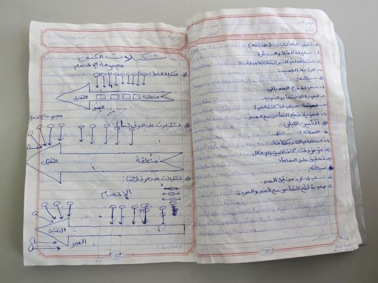 677725-a-photograph-shows-pages-of-a-notebook-belonging-to-an-al-qaeda-fighter-which-was-found-in-a-former-